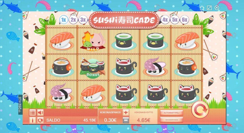 sushicade sushi kolikkopeli