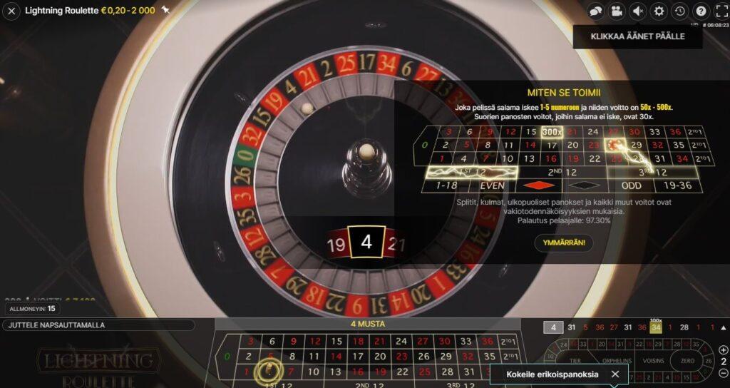 lightning roulette livepeli