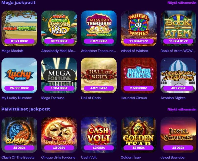 wheelz casinon jackpot pelit